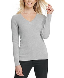 Metallic-Threaded Embellished Sweater