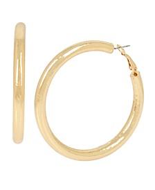 Gold Tube Medium Hoop Earrings