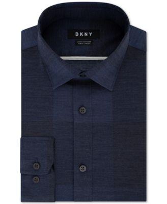 DKNY Mens Slim-Fit Stretch Print Dress Shirt
