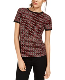 Anne Klein Speakeasy Button-Back Top