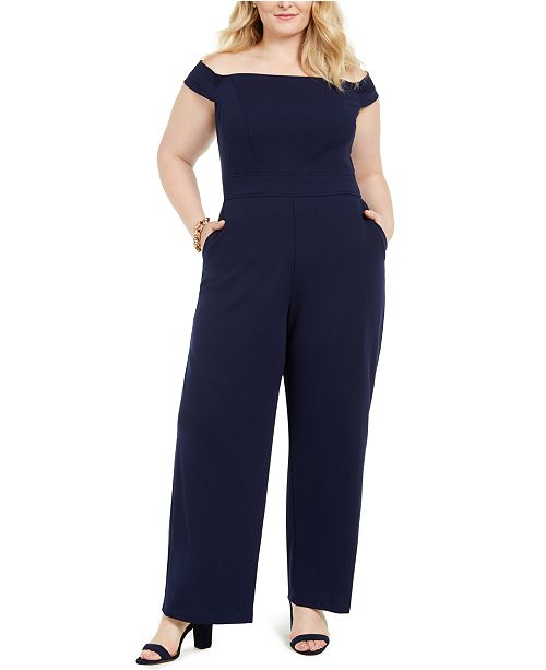 Teeze Me Trendy Plus Size Off-The-Shoulder Jumpsuit