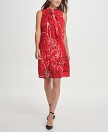 DKNY Sleeveless Tie Neck Pleated Shift Dress