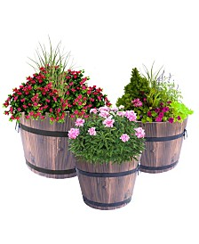 Gardenised Extra Large Wooden Whiskey Barrel Planters, Set of 3