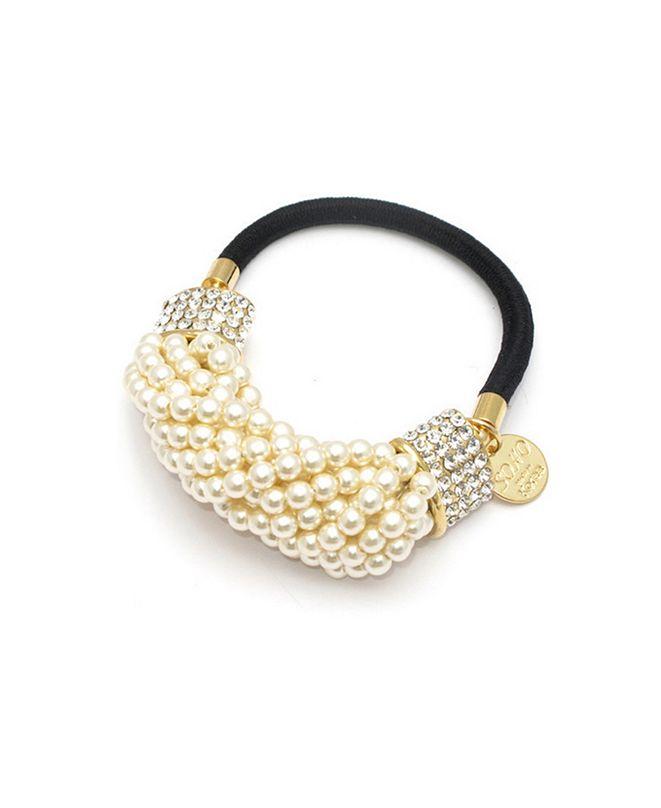 Soho Style Imitation Pearl and Crystal Ponytail Holder