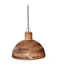 Sula Solid Wood Pendant with Wooden Industrial Inspired Shade Holder in Weathered Vintage-Inspired Finish 25 Watt