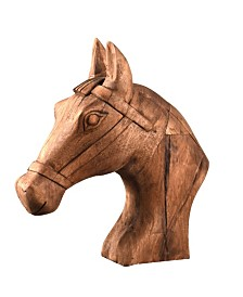 Villa2 Hand Carved Horse Head Sculpture in Vintage-Inspired Finish