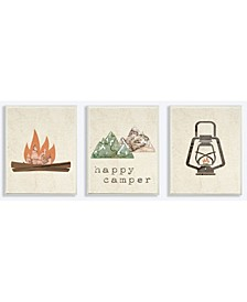 """Happy Camper Mountains and Lantern 3 Piece Wall Plaque Art Set, 10"""" x 15"""""""