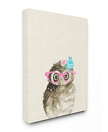 """Stupell Industries Woodland Owl with Cat Eye Glasses Canvas Wall Art, 16"""" x 20"""""""