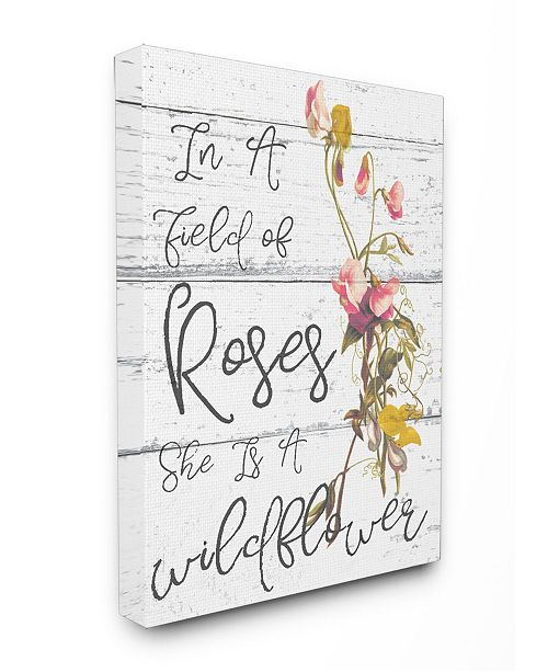 "Stupell Industries Be a Wildflower Cursive Typography Canvas Wall Art, 24"" x 30"""