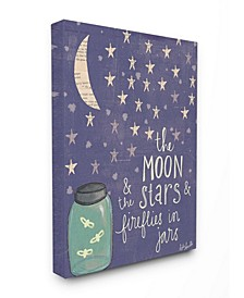 "Moon Stars Fireflies Canvas Wall Art, 16"" x 20"""