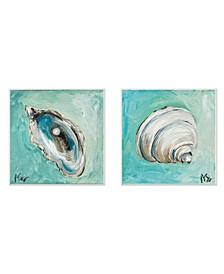 "Mollusk Illustrations 2 Piece Wall Plaque Art Set, 12"" x 12"""