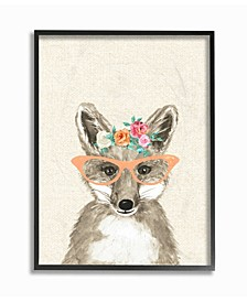 "Woodland Fox with Cat Eye Glasses Framed Giclee Art, 16"" x 20"""