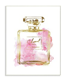 "Stupell Industries Glam Perfume Bottle Gold Pink Wall Plaque Art, 10"" x 15"""