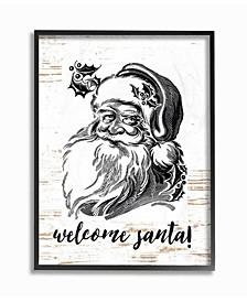 """Christmas Welcome Santa Farmhouse Framed Giclee Art, 11"""" x 14"""""""