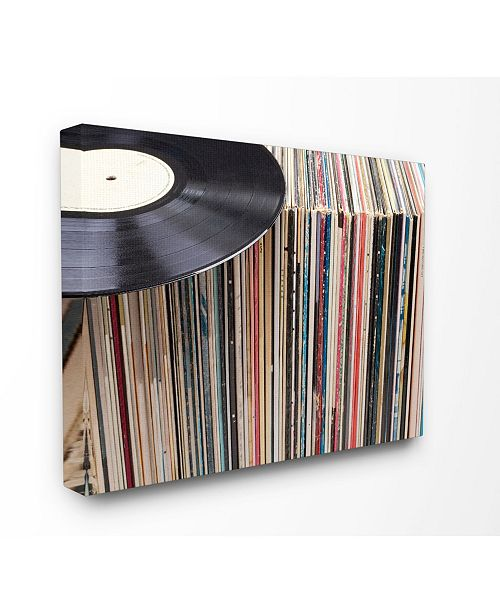 "Stupell Industries Vintage-Inspired Records Display Canvas Wall Art, 16"" x 20"""