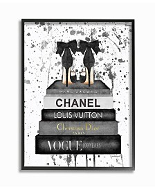 """Stupell Industries Glam Fashion Book Stack Gray Bow Pump Heels Ink Framed Giclee Art, 16"""" x 20"""""""