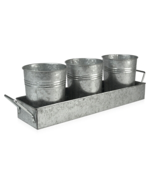 Artland Oasis Galvanized Tin 4-Piece Picnic Caddy Set