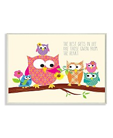 """Stupell Industries Home Decor The Best Gifts In Life Are Those Given From The Heart Owls Wall Plaque Art, 12.5"""" x 18.5"""""""