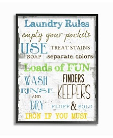 """Stupell Industries Home Decor Laundry Rules Typography Bathroom Framed Giclee Art, 16"""" x 20"""""""