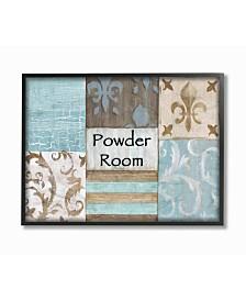 "Stupell Industries Home Decor Collection Fleur de Lis Powder Room Blue, Brown and Beige Bathroom Framed Giclee Art, 16"" x 20"""