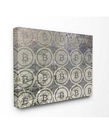 "Bitcoin Pattern on Surface Canvas Wall Art, 24"" x 30"""