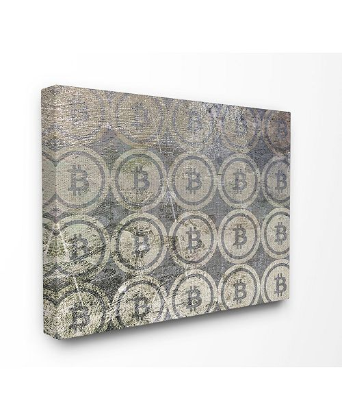 "Stupell Industries Bitcoin Pattern on Surface Canvas Wall Art, 24"" x 30"""