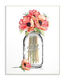 "Stupell Industries Mason Jar Poppys Wall Plaque Art, 10"" x 15"""