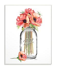 "Mason Jar Poppys Wall Plaque Art, 12.5"" x 18.5"""