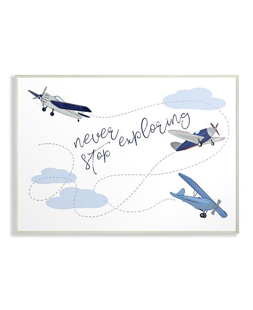 """Stupell Industries Never Stop Exploring Airplanes Wall Plaque Art, 12.5"""" x 18.5"""""""