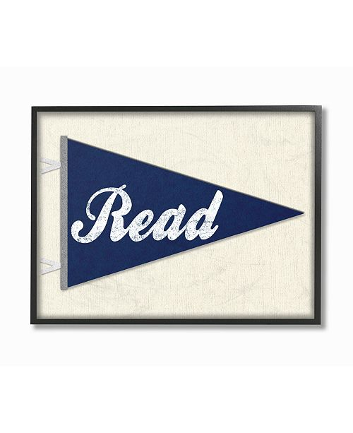 """Stupell Industries Read Pennant Fabric Collage Blue Framed Giclee Art, 11"""" x 14"""""""