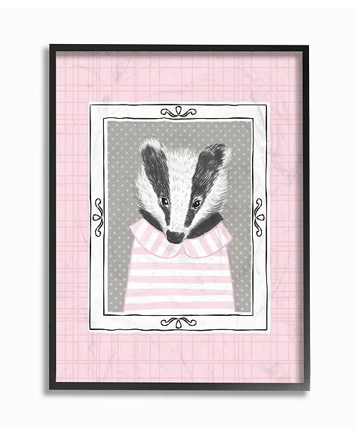 "Stupell Industries Badger Portrait Pink Framed Giclee Art, 16"" x 20"""
