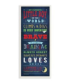 "Favorite Little Boy in The World Wall Plaque Art, 7"" x 17"""