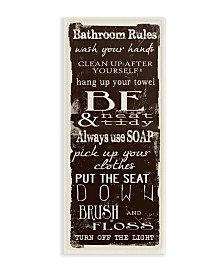 """Stupell Industries Bathroom Rules Chocolate White Wall Plaque Art, 7"""" x 17"""""""