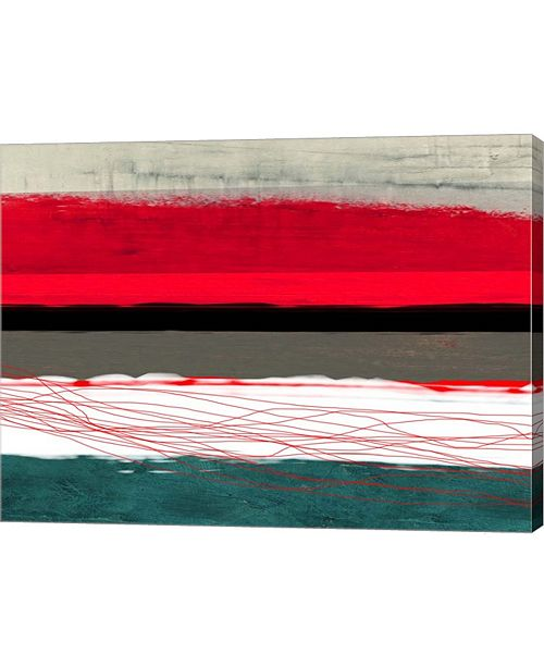 """Metaverse Abstract Stripe Theme Red Gray and White by Naxart Canvas Art, 26.5"""" x 20"""""""