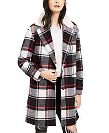 Plaid Faux Fur Collar Jacket