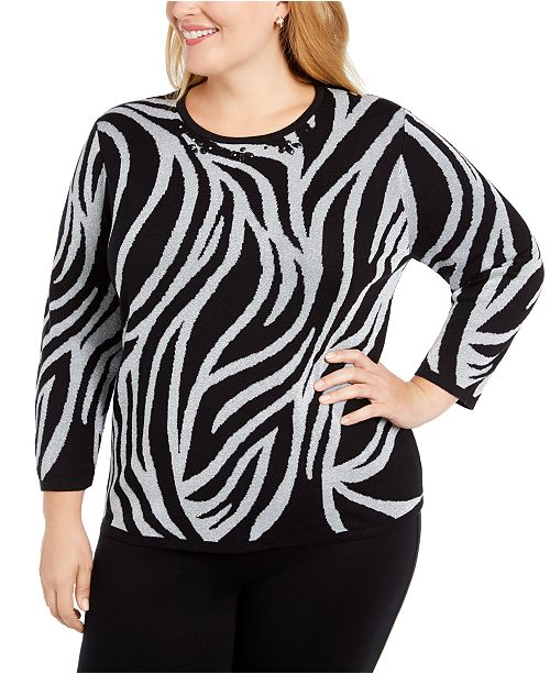 Alfred Dunner Plus Size Classics Metallic Animal-Print Sweater
