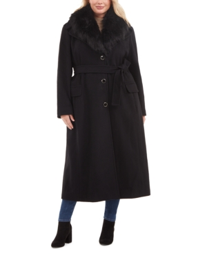 1940s Style Coats and Jackets for Sale Calvin Klein Plus Size Faux-Fur Collar Maxi Coat $399.99 AT vintagedancer.com