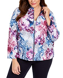 Plus Size Autumn Harvest Printed Quilted Jacket