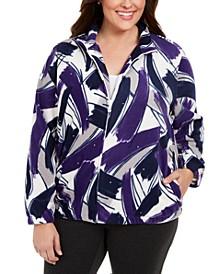 Plus Size Classics Brushstroke-Print Fleece Zip-Front Jacket