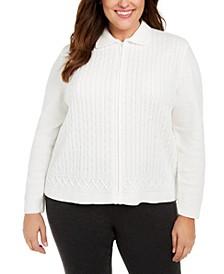 Plus Size Classics Chenille Zip-Front Cardigan