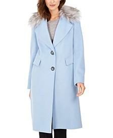Petite Single-Breasted Faux-Fur Walker Coat