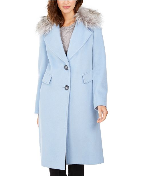 Calvin Klein Petite Single-Breasted Faux-Fur Walker Coat