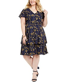 Juniors' Plus Size Printed Belted Fit & Flare Dress