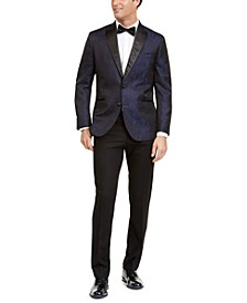 Men's Slim-Fit Peak Lapel Dark Blue Jacquard Tuxedo