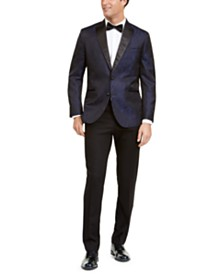 Kenneth Cole Reaction Men's Slim-Fit Peak Lapel Dark Blue Jacquard Tuxedo
