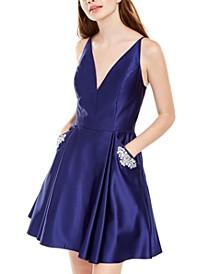 Juniors' Fit & Flare Pocket Dress