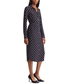 Geometric-Print Long-Sleeve Jersey Shirtdress