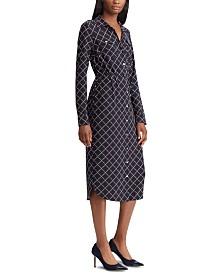 Lauren Ralph Lauren Geometric-Print Long-Sleeve Jersey Shirtdress