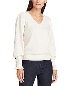 Lauren Ralph Lauren Button-Cuff Long-Sleeve Sweater