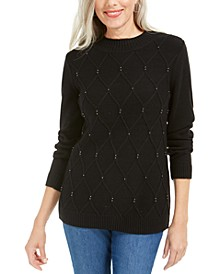 Beaded Cable Mock Neck Sweater, Created For Macy's